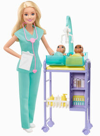 Barbie Baby Doctor Playset with Blonde Doll, 2 Infant Dolls, Toy Pieces