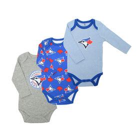 Snugabye Blue Jays 3 Pack Long Sleeve Bodysuits  - Blue, 18-24 Months