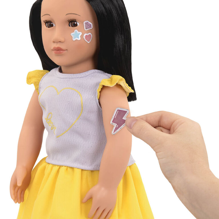"""Our Generation, Aisha """"Ready To Glow"""", 18-inch Deco Doll with Glow-in-the-Dark Tattoos"""