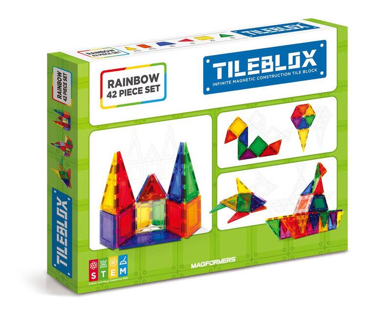 Magformers Coffret de 42 pièces Tileblox Rainbow - Édition anglaise