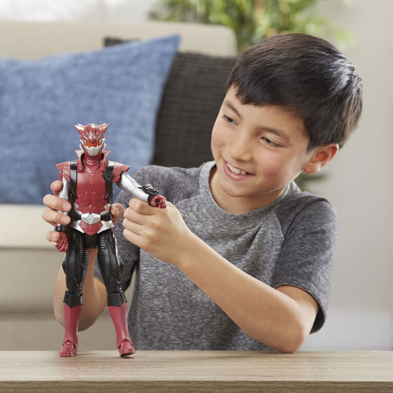 Power Rangers Beast Morphers, figurine de 30 cm du cybervilain Blaze, inspirée de la série télé Power Rangers.