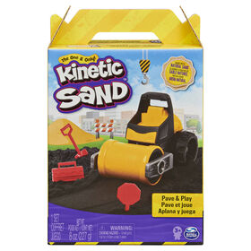 Kinetic Sand, Pave & Play Construction Set with Vehicle and 8oz Black Kinetic Sand