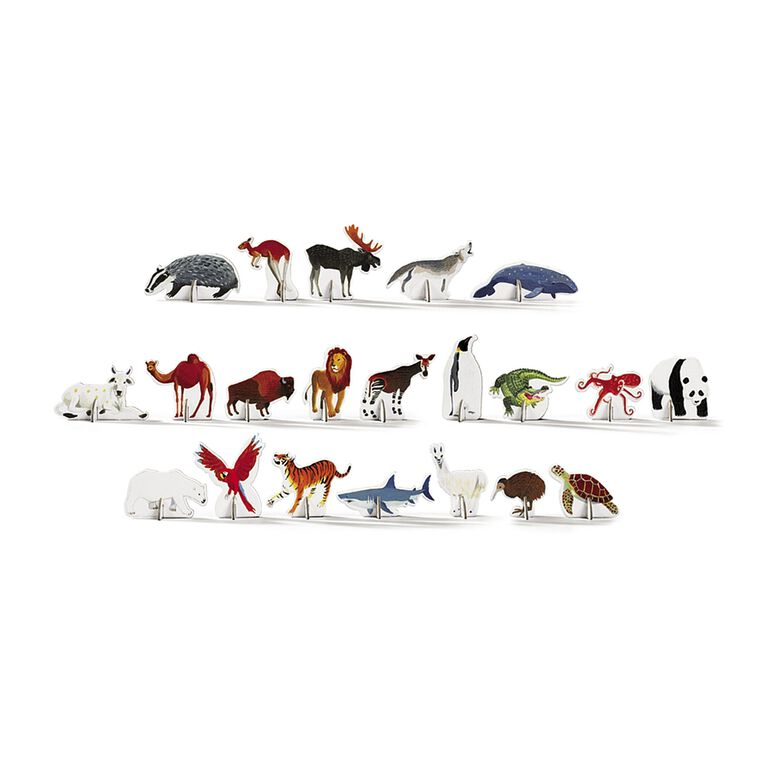 Crocodile Creek - Discover World Animals Learn + Play 100 piece Jigsaw Floor Puzzle and 21 Figures, 36