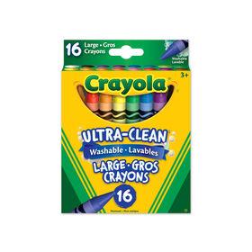 Gros crayons de cire lavables, couleurs variées, 16 ct