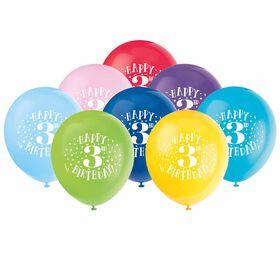 "Fun ""Happy 3rd Bday"" 12"" Latex , 8 pieces - English Edition"