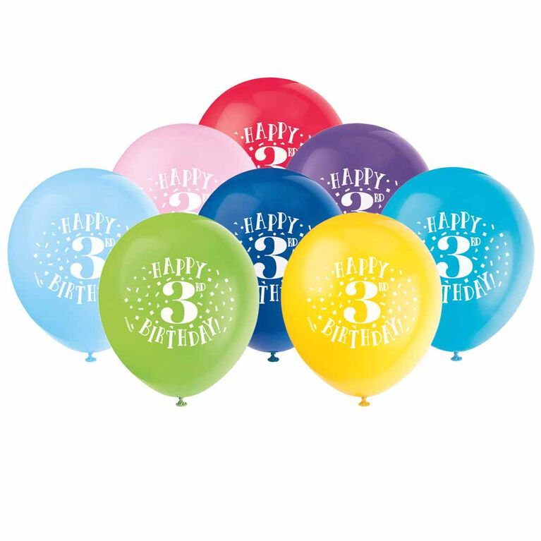 """8 Balloons 12 Po - """"Happy 3rd Birthday"""" - Édition anglaise"""