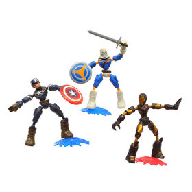 Marvel Avengers Bend and Flex, multipack de figurines flexibles de 15 cm Iron Man, Captain America et Taskmaster