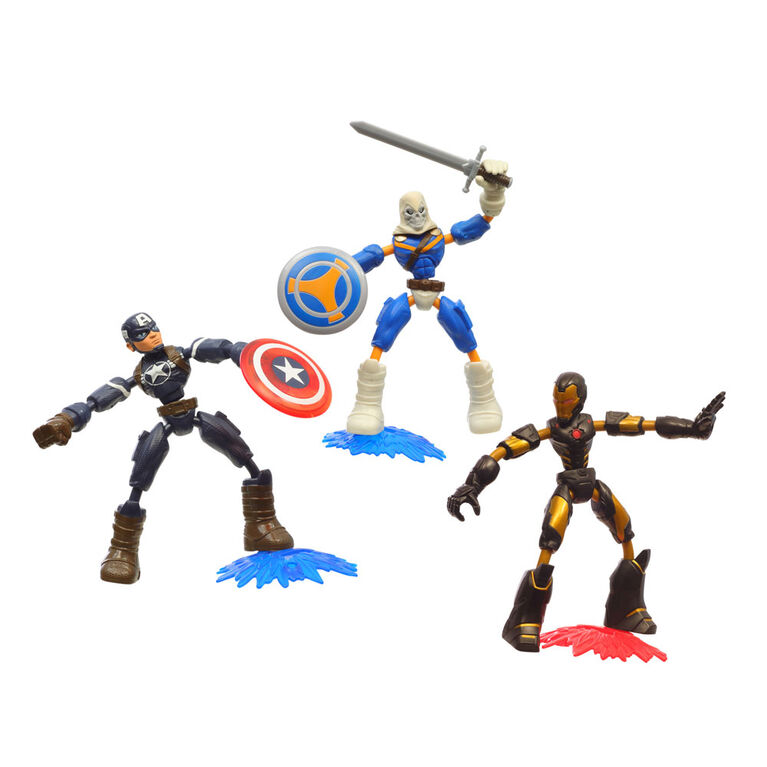 Marvel Avengers Bend and Flex Iron Man, Captain America, Taskmaster Multipack, 6-Inch Flexible Action Figures