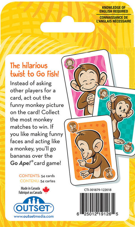 Outset Media - Go Ape Card Game - Édition anglaise