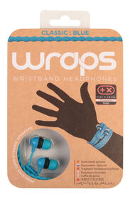 WRAPS - Classic Blue - Wristband Headphones with Anti-Tangle Storage, and a Black Braided Fabric Cable