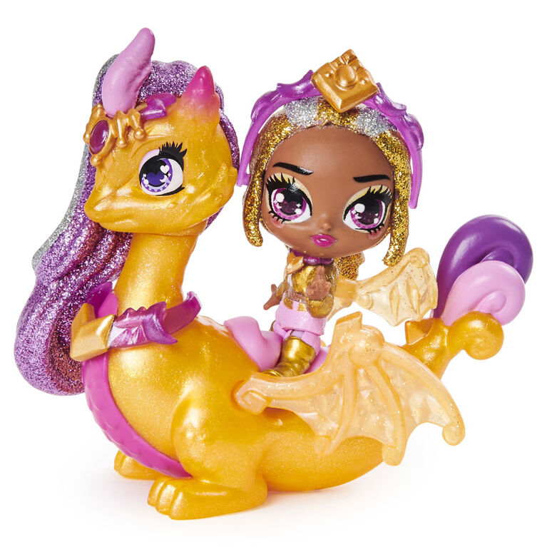 Hatchimals Pixies Riders, Gold Shimmer Charlotte Pixie and Draggle Glider Hatchimal Set with Mystery Feature