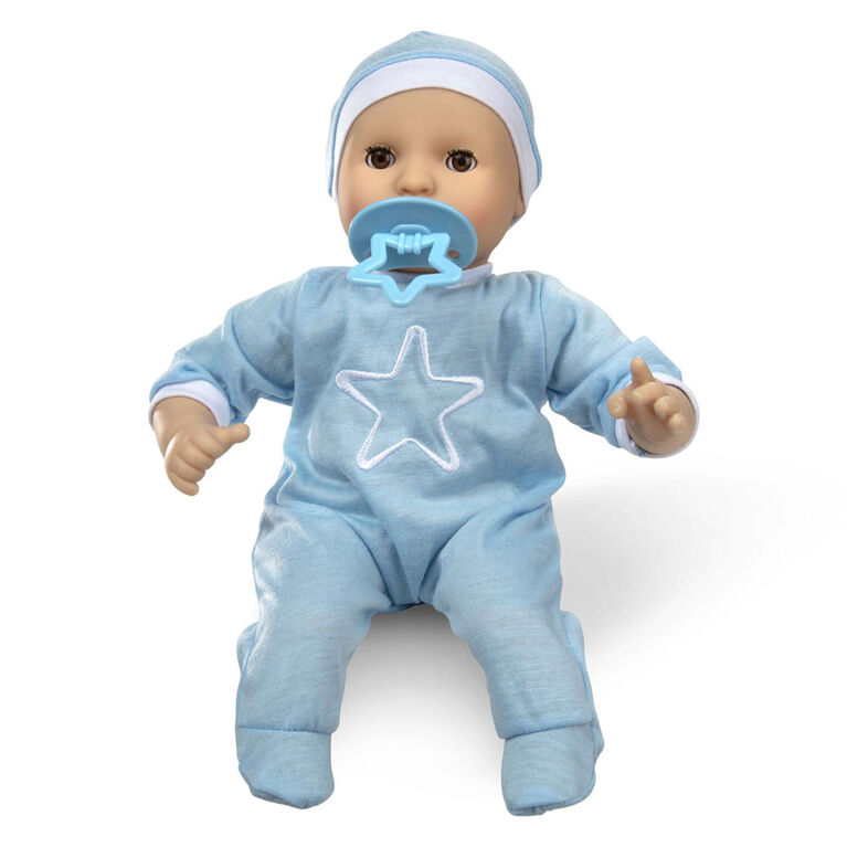 "Melissa & Doug Mine to Love Jordan 12"" - Tone Boy Baby Doll with Romper, Cap, Pacifier"