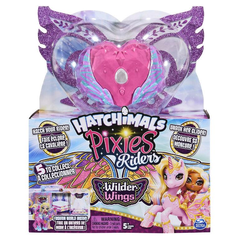 Hatchimals Pixies Riders, Wilder Wings, Pixie Chic Claire et Glider Zebrush avec 16 accessoires pour ailes