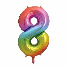 """Rainbow Number 8 Shaped Foil Balloon 34"""""""