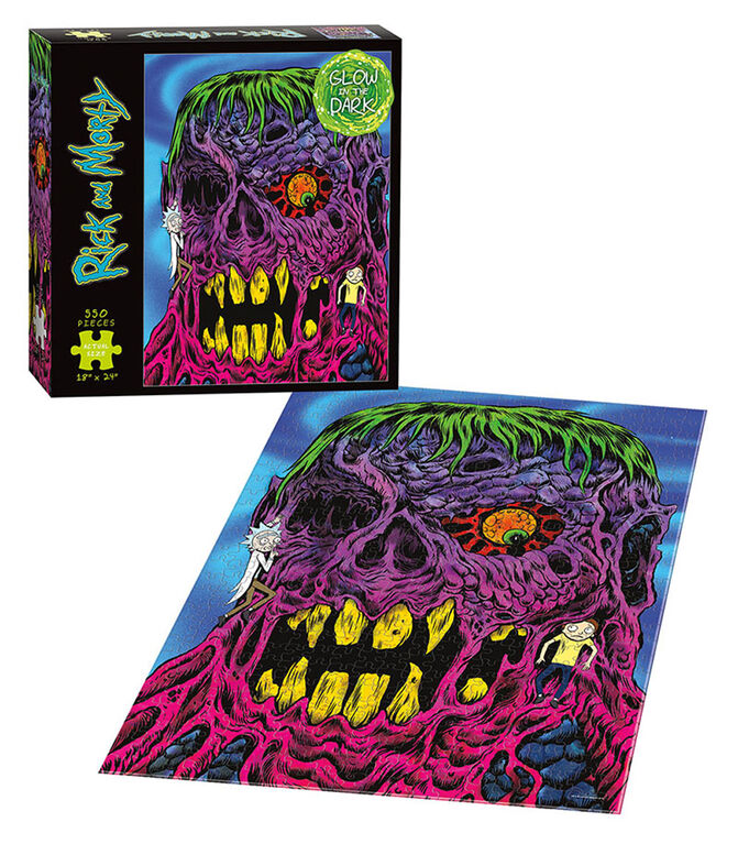"""Rick and Morty """"Eye See You"""" Glow-in-the-Dark 550 Piece Puzzle"""