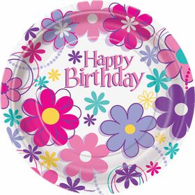 "Birthday Blossoms  7""  Plates, 8 pieces - English Edition"