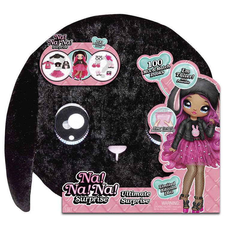 Na! Na! Na! Surprise Ultimate Surprise Black Bunny with New Taller Doll and 100+ Mix & Match Looks