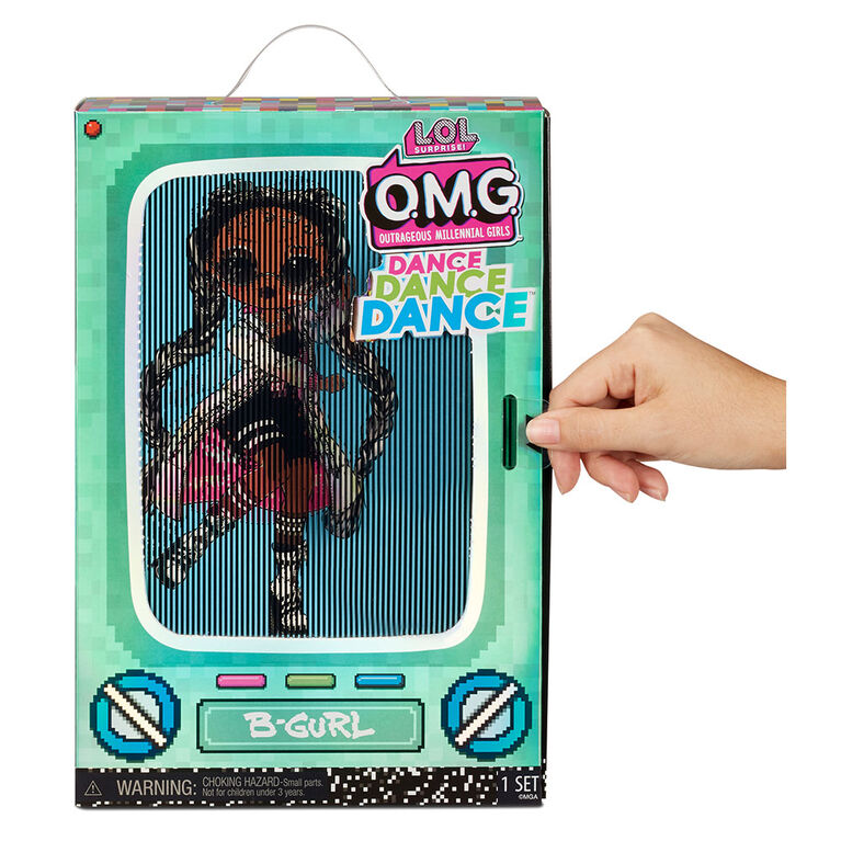 LOL Surprise OMG Dance Dance Dance B-Gurl Fashion Doll with 15 Surprises Including Magic Blacklight, Shoes, Hair Brush, Doll Stand and TV Package