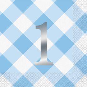 Blue Gingham 1st Birthday Serviettes de Table, 16un