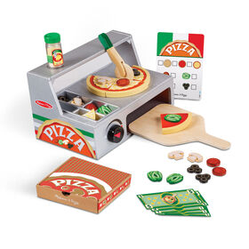 Melissa & Doug Top and Bake Wooden Pizza Counter Play Food Set (34 Pieces, 19.685 cm H x 23.495 cm W x 33.655 cm L)