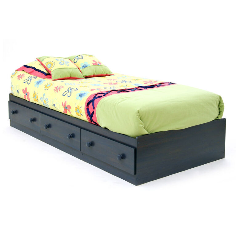 Summer Breeze Bed with Storage - Mates Bed with 3 Drawers - Blueberry