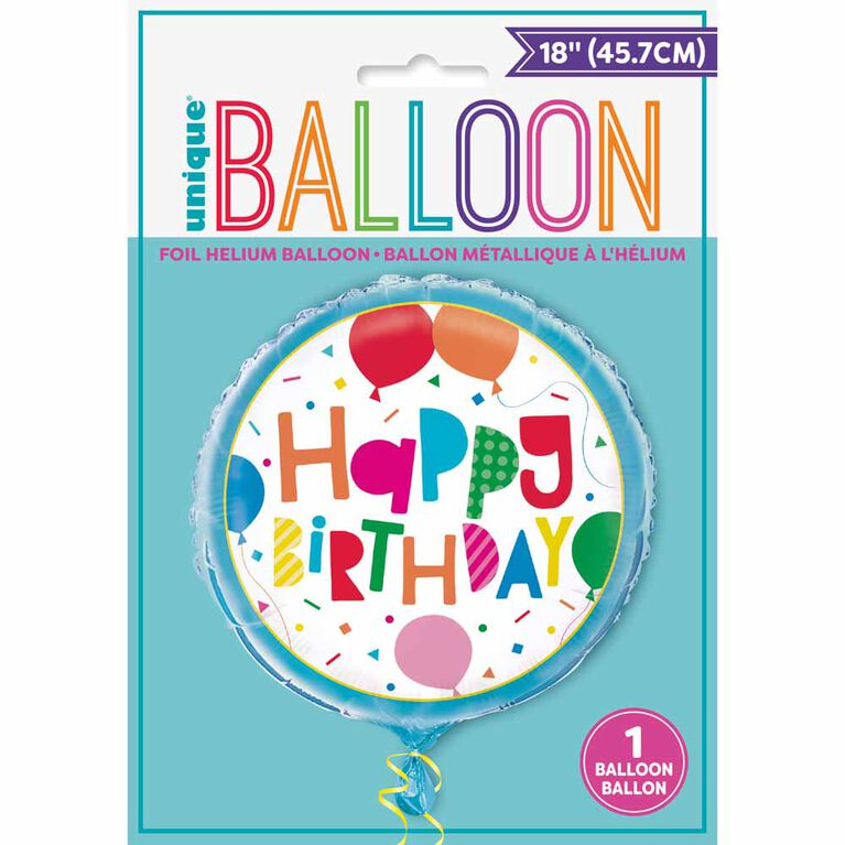 """Colorful Balloons Round Foil 18"""" - English Edition"""