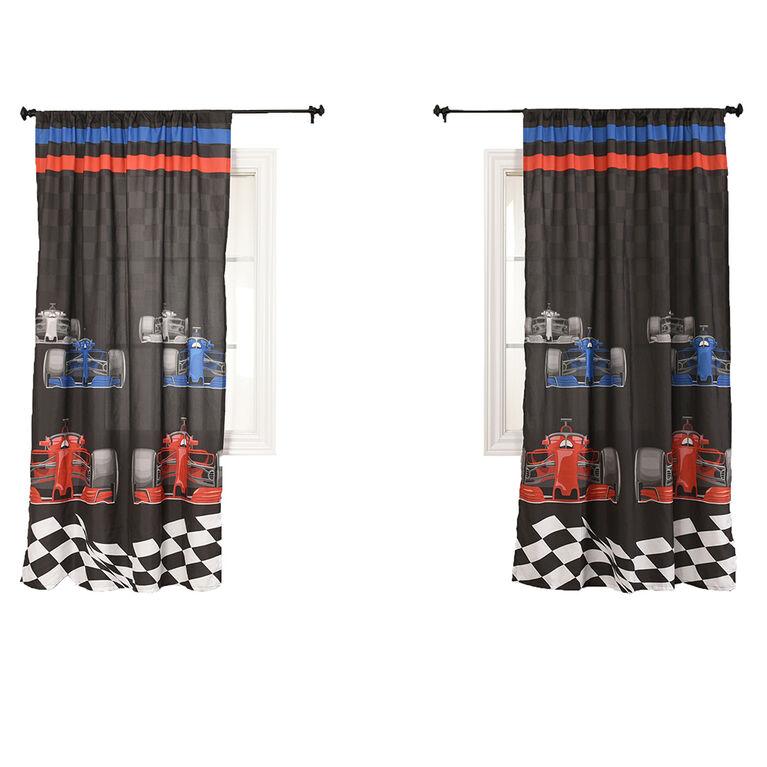 Race Car Kids Bedroom Curtain Panel Set