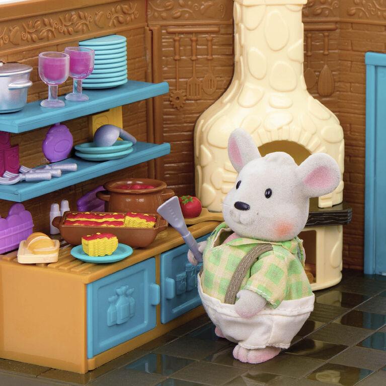 Pass-The-Pasta Restaurant, Woodzeez, Ensemble de restaurant avec aliments-jouets - les motifs peuvent varier