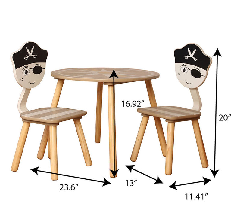 Pirate Round Table With 2 Chairs