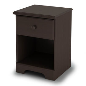 Summer Breeze 1-Drawer Nightstand - End Table with Storage- Chocolate
