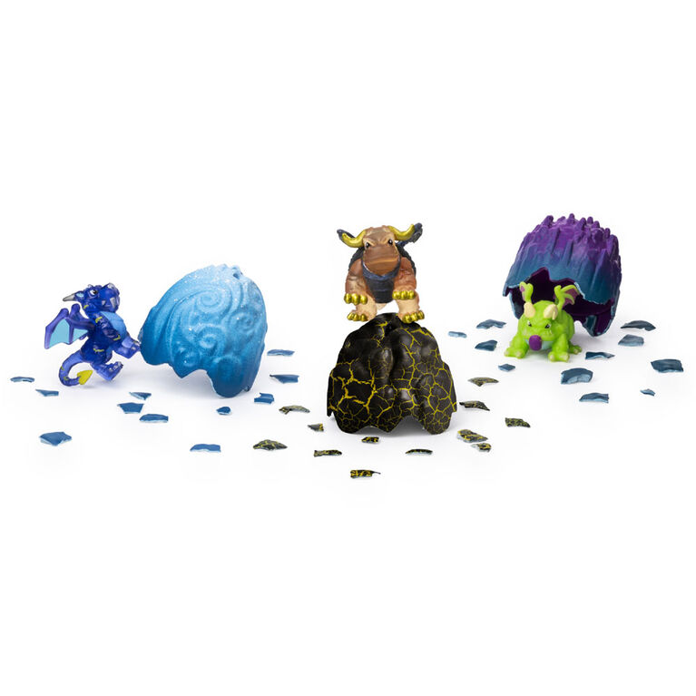 Dragamonz, Coffret de 3 figurines Dragon Multi, Jeu de cartes à échanger et de figurines à collectionner