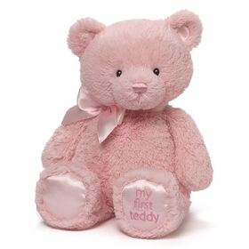 Baby GUND My 1st Teddy Bear Stuffed Animal Plush, Baby Girl Pink, 15 Inch