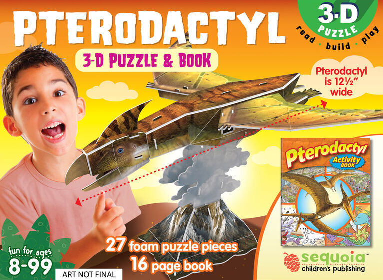 3D Book and Puzzle Pteradactyl - English Edition