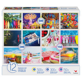 Family 12-Pack of Jigsaw Puzzles, Colourful Vacation