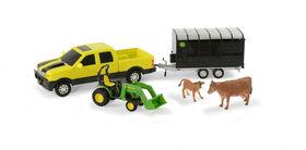 Jeu pour déplacer des animaux de John Deere, camionnette John Deere avec vaches.