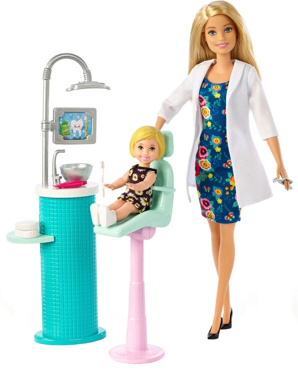 Barbie - Coffret de jeu et poupée Dentiste.
