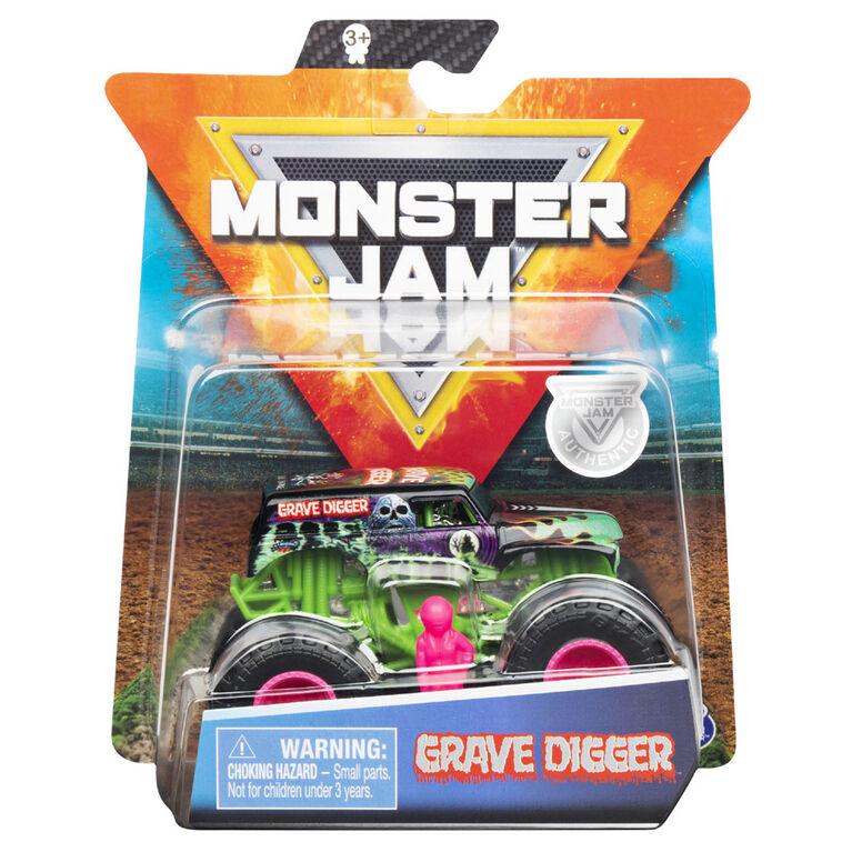 Monster Jam, Monster truck authentique Grave Digger en métal moulé à l'échelle 1:64, série Danger Divas