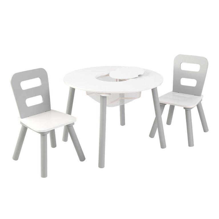 Round Storage Table & Chair Set-Gray&White