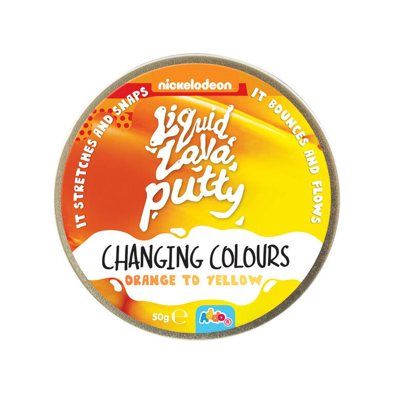 Nickelodeon Liquid Lava Putty Changing Colour Orange to Yellow - Notre exclusivité