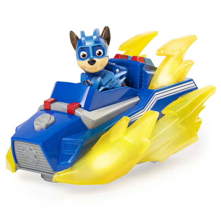 PAW Patrol, Mighty Pups Prêt à foncer, Véhicule Chase Deluxe Vehicle avec effets sonores et lumineux
