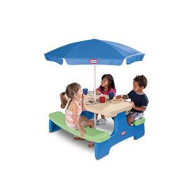Little Tikes - Easy Store - Grande table de pique-nique bleu et verte avec parasol