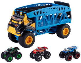 Hot Wheels - Monster Trucks - Vehicule Transporteur Monstre + 3 Camions - R Exclusif
