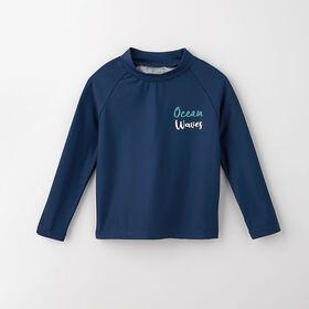surf's up long-sleeve rashguard, 4-5y - dark blue
