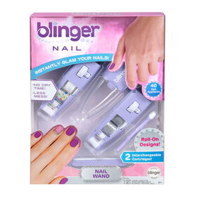 Stylo pour ongles Blinger - Étoiles et paillettes argentées