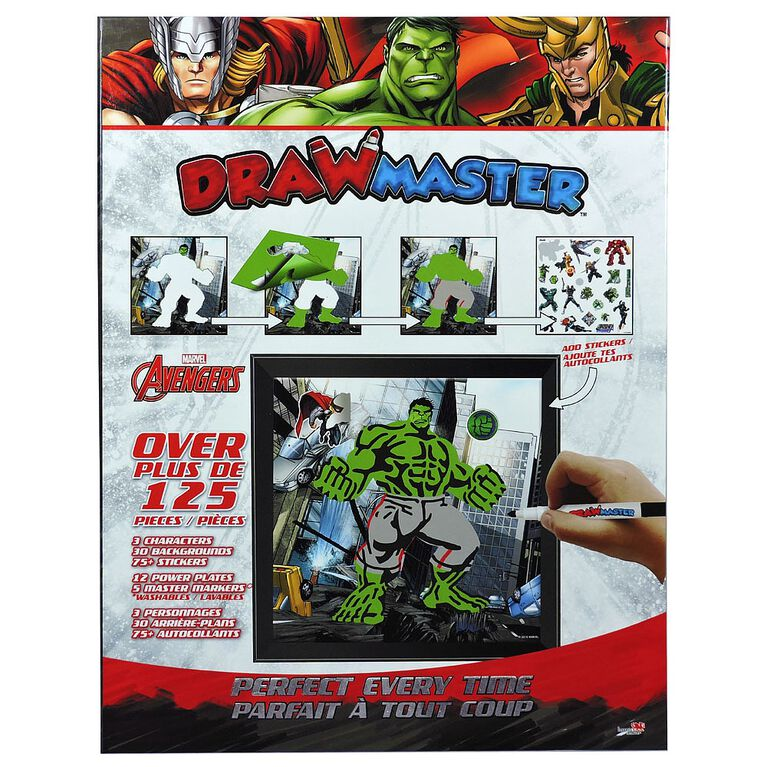 Drawmaster Marvel Avengers Exclusive Drawing Kit - Thor, The Hulk, Loki (Bilingual)