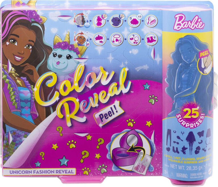Barbie Color Reveal Peel Doll with 25 Surprises & Unicorn Fantasy Fashion Transformation