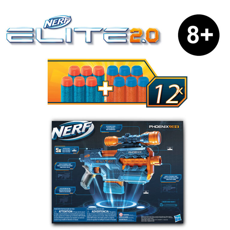 Nerf Elite 2.0 Phoenix CS-6 Motorized Blaster, 12 Official Nerf Darts, 6-Dart Clip, Scope, Tactical Rails, Barrel and Stock Attachment Points