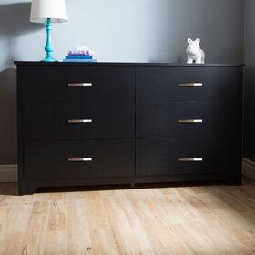 Fusion Bureau double 6 tiroirs- Noir solide