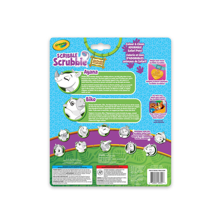 Crayola Scribble Scrubbie Safari Animals 2-Pack Rhino & Hippo
