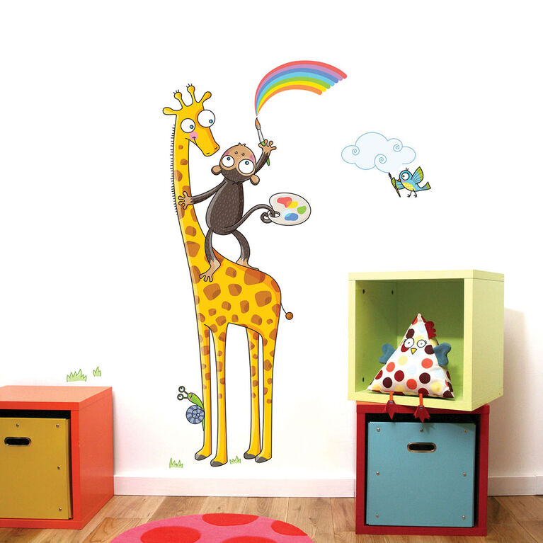 Wall Stories Kids Wall Stickers - Discover Colors - Interactive Animal Wall Stickers for Kids Bedrooms - Large Peel and Stick Wall Decals with Free Play and Activity App